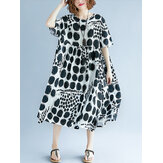 Frauen Polka Dot Print Casual Loose Vintage Kleid
