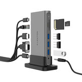 Lention Adattatore docking station USB-C 11 in 1 con 3 * USB 3.0 / Type-C / USB-C PD / 4K HD Displayport / VGA / RJ45 Porta Internet / Lettori di schede di memoria / Jack audio da 3,5 mm Non originale