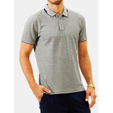 Mens Fashion Summer Breathable Turn Down Collar T-Shirts