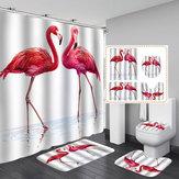 4 PCS 3D Flamingo Banheiro À Prova D 'Água Cortina de Chuveiro Mat Capa de Banheiro Antiderrapante Tapete Tapete Banheiro Conjunto com 12 Ganchos