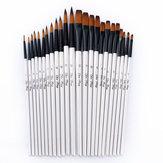 12 piezas Nylon Cabello Pintura con mango de madera Cepillo Pluma Set para el aprendizaje Diy Oil Pintura acrílica Pintura artística Cepillos Suministros Cabeza puntiaguda