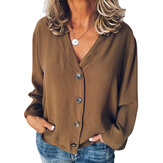 Women Buttons V Neck Solid Casual Loose Blouse