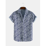 Men Blue and White Pottery Print Short Sleeve Relaxed Shirts