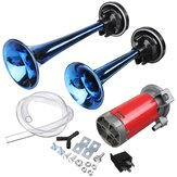 24V 178dB Blue Dual Tube Super Loud Air Horn Trumpet with Compressor For Car Truck Boat Train