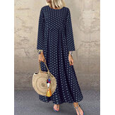 Women Casual O-Neck Polka Dot Long Sleeve Side Pockets Dress