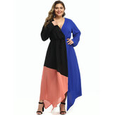 Plus Size Women Hit Color Patchwork V-neck Casual Maxi Dress