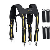 Padded Heavy Duty Work Tool Belt Braces Suspenders for Tool Pouch with 4 Loops