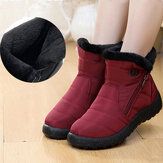 Wome Plus Size Water Resistant Soft Sole Ankle Snow Boots