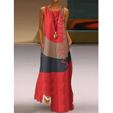 Sleeveless Patchwork O-neck Side Pocket Casual Long Maxi Dress