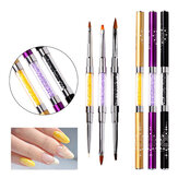 New Double-ended UV Gel Nail Brush Ultra-thin Line Drawing Pen Rhinestone Nail Art Manicure DIY Tools Gold/ Purple/ Black