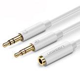 Ugreen Splitter per cuffie da 3,5 mm femmina a 2 microfono maschio Cavo audio splitter per cuffie per PC