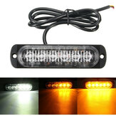 18W 6 LED Car Strobe Lights Bar 12V-24V Emergency Warning Flashing Lamp Amber/White/Amber+White