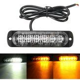 18W 6 LED Авто Стробоскопическая лампа 12V-24V Аварийное предупреждение мигает Лампа Янтарный / Белый / Янтарный + белый