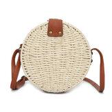Femmes été ronde sac à bandoulière en paille Vintage tissé plage fourre-tout bandoulière sac à main