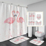 1/3/4 stks 3D Flamingo Waterdicht Douchegordijn Waterdicht Wc Cover antislip Mat 3 stks Wc Badkamer Decor