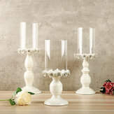 Nordic White Metal Candle Holder Glass Head Iron Candlestick Home Wedding Decor