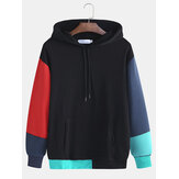 Men Color Matching Male Hooded Hit Color Loose Hooded Fall S