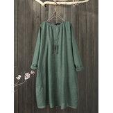Plus size effen kleur ronde hals katoenen losse vintage jurk