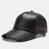 Men Artificial Leather Vintage Baseball Cap Personality With Woven Hat
