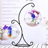 Clear Glass Hanging Ball Mini Fish Tank Aquarium Home Office Desktop Stand Decorations