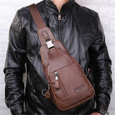 Ekphero® Men Casual Genuine Leather Oil Wax Chest Bag Crossb