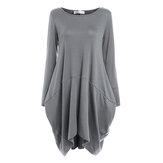 Kadınlar Uzun Kollu Streç Gevşek Salıncak Kısa Elbise