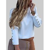 Solid Color Back Button Long Sleeve Causal Blouse For Women