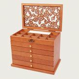 5 warstw Drewniane pudełko na biżuterię Schowek Pulpit Naszyjnik Biżuteria Organizer
