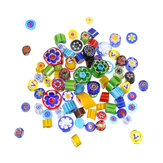 28g 90 COE Fusible Glass Beads Rainbow Mix Handmade Millefiori for Mosaic Decorations