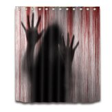 3D Halloween Shower Curtain Blood Hands Curtain Scary Spooky Bathroom Curtain