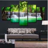 Rimless Landscapes Green Waterfalls High Definition Spray Paintings For Room Decorations