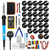 379Pcs 60W Electric Solder Iron Kit Welding Tool Solder Repair Screwdriver Plier Multimeter