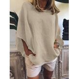 Women Casual Loose Pure Color O-Neck Half Sleeve Blouse