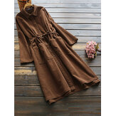 Corduroy Long Sleeve Drawstring Waist Coats