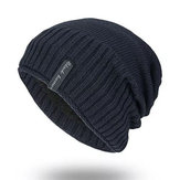 Mens Solid Gestrickte Plus Samt Warm Skullies Beanie Cap