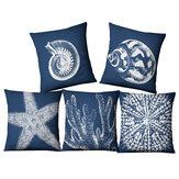 Bússola American Ocean Style Linen Pillow Caso Sofá de tecido para casa Mediterrâneo Capa de almofada