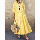Women Casual Loose Plaid Print O-Neck Half Sleeve Dress