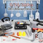 9/24 / 36Pcsキッチンふりプレイアクセサリー調理器具ポットとフライパンおもちゃセット調理器具と食料品子供用の食べ物男の子幼児食器