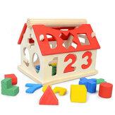 Houten digitaal huis Afneembare digitale vorm Bijpassende blokken Huis Vroeg educatief speelgoed voor kinderen