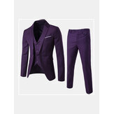 Mens High Quality Business Casual Three Piece Groom Suit Bla