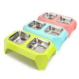 Stainless Steel Double Pet Bowl Food Water Feeder for Dog Puppy Cats Pets Supplies Feeding Dishes