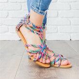 Women Bohemian Folkways Open Toe Buckle Casual Sandals