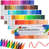120 kleuren tweekoppige markeerstift Art Brush Aquarel Dual Tip pennen