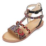 Женщины богемная обувь с открытым носком лето Пляжный Сандалии