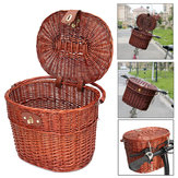 Vintage Willow Wicker Bike Front Basket Box Handlebar For Shopping Camping Pet Fruit Bicycle Box