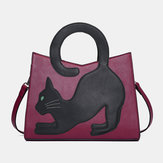 Women Fashion Cute Cat Pattern Patchwork Handbag