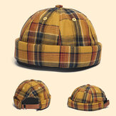 Casquette de propriétaire Dome Casquette Innocent Plaid Sailor Cap Street Trends Melon Stripe Brimless Hats Skull Cap