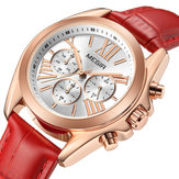MEGIR 2114 Chronograph Genuine Leather Women Wristwatch