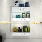 1 Piece Punch-free Bathroom Kitchen Wall-mounted Storage Rack Multipurpose Shelf 2/3 Layers S/M/L Size