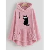 Sweat-shirt à capuche en polaire avec bouton latéral pour chat